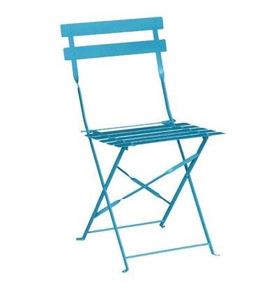 Bolero Klappbare Terrassenstühle | 2 Stück | Sitzhöhe: 44cm | Stahl | Azurblau