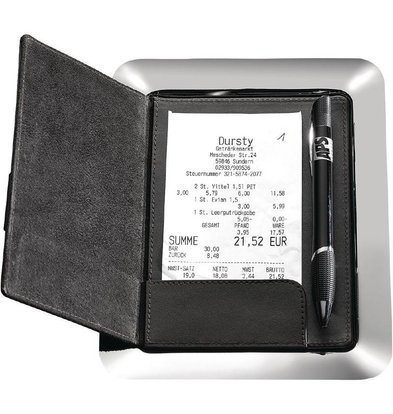 XXLselect Rechnungstablett und Mappe | 16 x 20cm | Edelstahl/Leder
