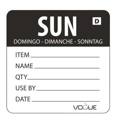 Vogue Auflösbare Etiketten Sonntag | Schwarz | 250 Stück je Rolle