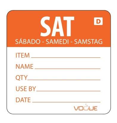 Vogue Auflösbare Etiketten Samstag | Orange | 250 Stück je Rolle