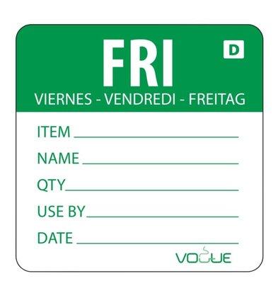 Vogue Auflösbare Etiketten Freitag | Grün | 250 Stück je Rolle