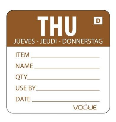 Vogue Auflösbare Etiketten Donnerstag | Braun | 250 Stück je Rolle