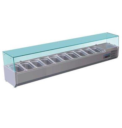 Polar Aufsatzvitrinen mit Glas-Top | 10x1/4GN | 2000x330x(h)435mm