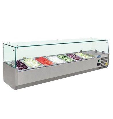 Polar Aufsatzvitrinen mit Glas-Top | 7x1/4GN | 1500x330x(h)435mm