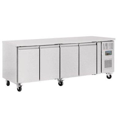 Polar Arbeitstisch mit Kühlschrank | Edelstahl | 4 Türen | 2230x600x(h)850mm