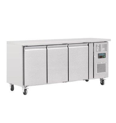 Polar Arbeitstisch mit Kühlschrank | Edelstahl | 3 Türen | 1795x700x(h)850mm