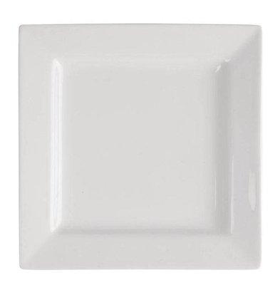 Lumina Fine China Teller Eckig 265mm | Lumina Porzellan Weiß | 4 Stück