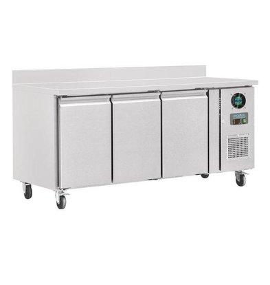 Polar Edelstahl Tiefkühltisch   3 Türen+Aufkantung   1800x700x(h)960mm