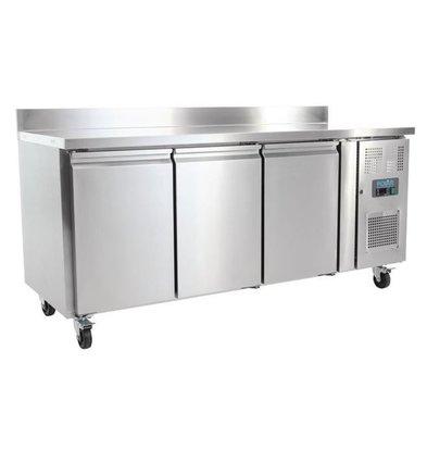 Polar Edelstahl Kühltisch | 3 Türen+Aufkantung | 1800x700x(h)950mm