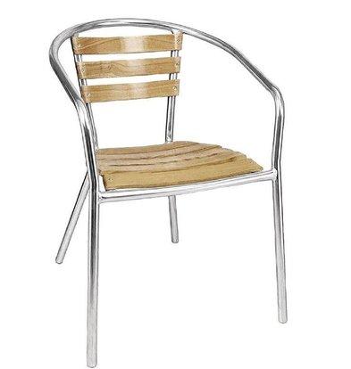 Bolero Bistrostühle mit Armlehne | 4 Stück | Sitzhöhe: 45cm | Aluminium/Eschenholz