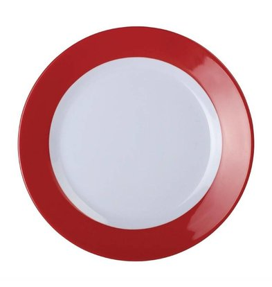 Kristallon Gala Melamin Teller 195mm | Rot-Weiß | 6 Stück