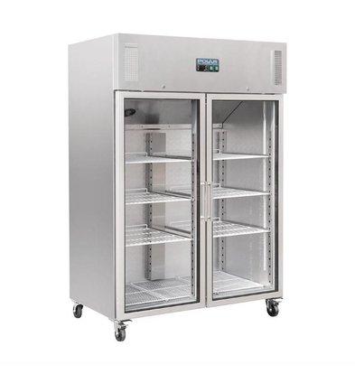 Polar Kühlschrank Edelstahl | 2 Glastüren | 1200 Liter | 1340x800x2010(h)mm