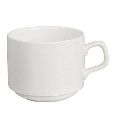 Lumina Fine China Stapelbare Kaffeetassen 20cl | Porzellan Weiß | Ø80x(h)65mm | 6 Stück