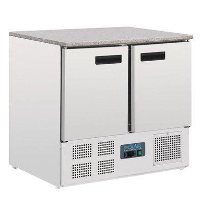 Polar Kühltisch Edelstahl   2 Türen   Marmorarbeitsfläche   700x900x(h)890mm
