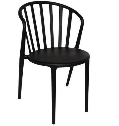 Bolero Stapelbarer Stuhl mit Armlene | Kunststoff Schwarz | 4 Stück