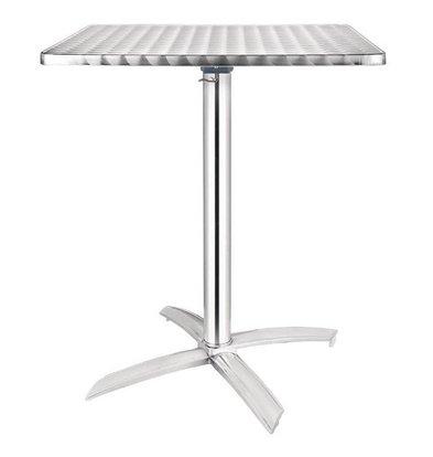 Bolero Bistrotisch Edelstahl | Aluminium Fuß | 600x600x(h)720mm