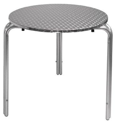 Bolero Bistrotisch Edelstahl Rund | Aluminium Gestell | Ø700(h)720mm