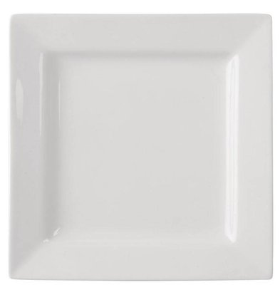 Lumina Fine China Teller Quadratisch | Lumina Porzellan Weiß | 230mm | 4 Stück