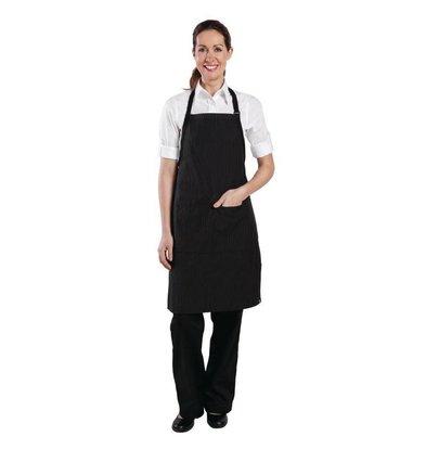 Chef Works Chef Works Unisex Latzschürze | Schwarz-Weiß Nadelstreifen | 610mmx(l)850mm
