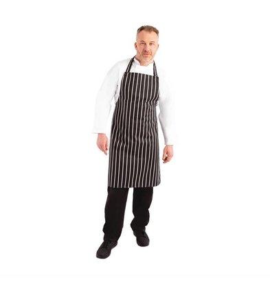 Whites Chefs Clothing Whites Latzschürze Schwarz-Weiß gestreift | Polybaumwolle