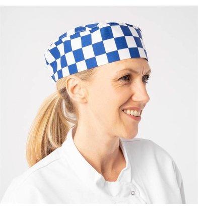 Whites Chefs Clothing Whites Skull Cap Unisex Kochmütze Blau-Weiß kariert