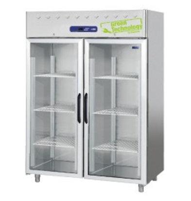 Diamond Tiefkühlschrank mit Glastüren | Edelstahl | 1400 Liter | 1500x820x(h)2030mm | DeLuxe