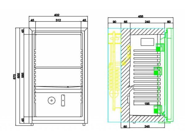 Diamond Minibar geschlossene Türfront   50 Liter   400x450x(h)690mm   Geräuscharm