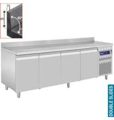 Diamond Kühltisch | Edelstahl | Aufkantung | 4 Türen | 550 Liter | 2190x700x(h)850-900mm