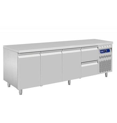 Diamond Kühltisch | Edelstahl | 3 Türen | 2 Schubladen | 550 Liter | 2190x700x(h)850-900mm