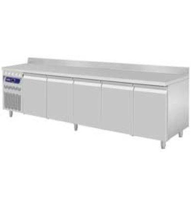 Diamond Kühltisch | Edelstahl | Aufkantung | 5 Türen | 2625x700x(h)850-900mm