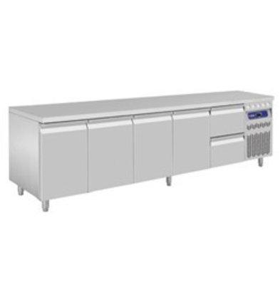 Diamond Kühltisch | Edelstahl | 4 Türen | 2 Schubladen | 2625x700x(h)850-900mm