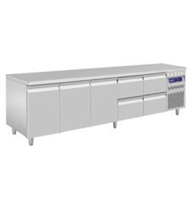 Diamond Kühltisch | Edelstahl | 3 Türen | 4 Schubladen | 2625x700x(h)850-900mm
