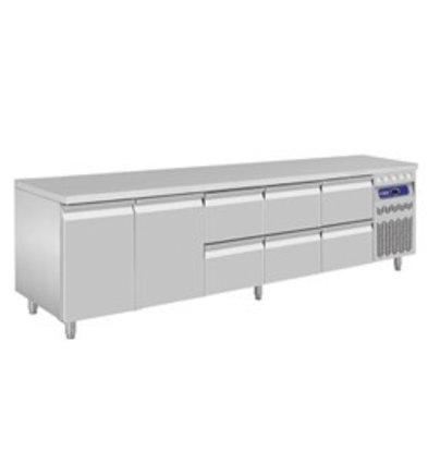 Diamond Kühltisch | Edelstahl | 2 Türen | 6 Schubladen | 2625x700x(h)850-900mm