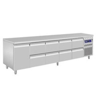 Diamond Kühltisch | Edelstahl | 1 Tür | 8 Schubladen | 2625x700x(h)850-900mm