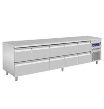 Diamond Kühltisch | Edelstahl | 10 Schubladen | 2625x700x(h)850-900mm