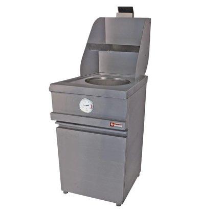 Diamond Gas-Friteuse | Runde Becken | 13 Liter | mit Unterbau | 535x870x(h)930-1507mm