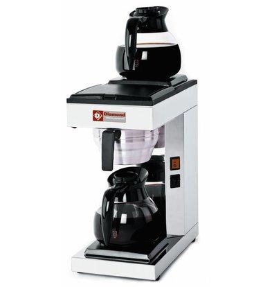 Diamond Kaffeemaschine | 1,8 Liter | 1 Kessel | 2 Glas Kannen und 2 Wärmhalteplatten | 2,4KW