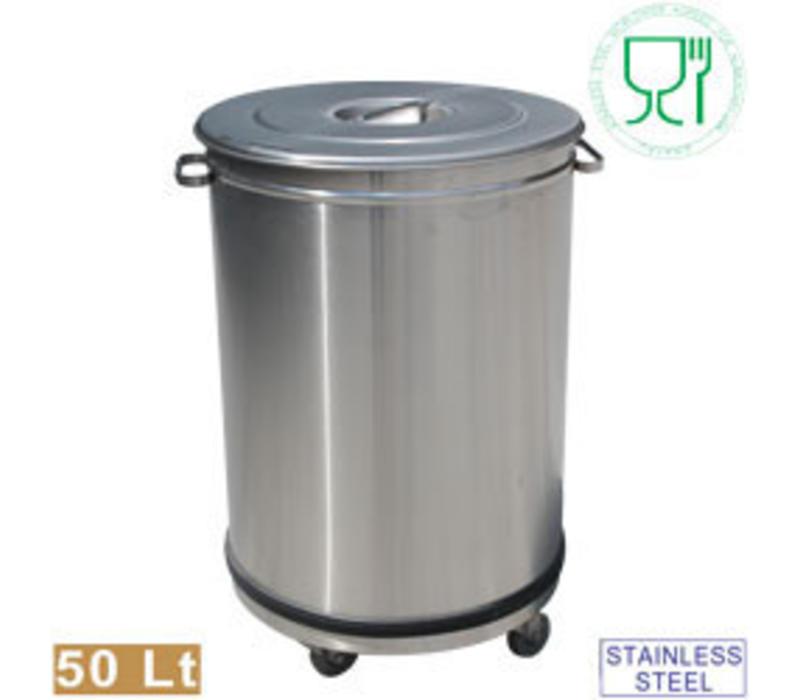 Diamond Abfallbehälter | Edelstahl | mit Deckel auf Rädern | 50 Liter | Ø390x615(h)mm