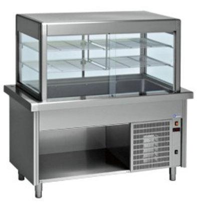 Diamond Kühlvitrine | mit Unterbau | 4x 1/1 GN | Edelstahl | 0,6kW | 1500x800x(h)1600mm