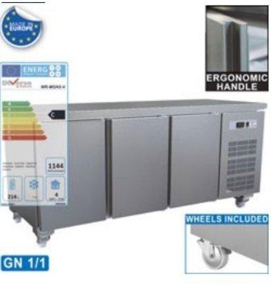 Diamond Kühltisch auf Rollen | 3 Türen | 1792x700x(h)880-900mm