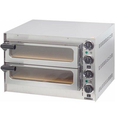 Casselin Elektro-Pizzaofen Doppelt | 2x Kammer 410x370x90mm | 550x430x(h)245mm