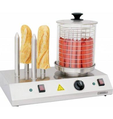 Casselin Hot-Dog Gerät | 4 Heizstangen | 230V-960W | 500x285x(h)390mm