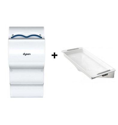 Dyson Set Dyson Airblade AB14 Händetrockner Weiß | Wasserauffang ohne Wandschutz