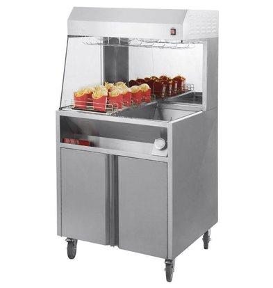 Casselin Pommes-Wärmer Unit | 9 Ablagen | 4 Wärmelampen | 230V-1,2kW | 800x700x(h)1500mm