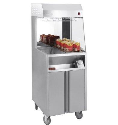 Casselin Pommes-Wärmer Unit | 9 Ablagen | 3 Wärmelampen | 230V-900W | 600x700x(h)1500mm