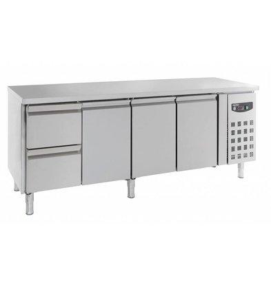 Combisteel Edelstahl Kühltisch | 3 Türen +  2 Schubladen | 553 Liter | 2230x700x(h)850mm