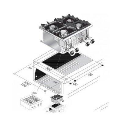 Combisteel Drop-In Gasherd   4 Brenner   18 kW   600x600x(h)270mm