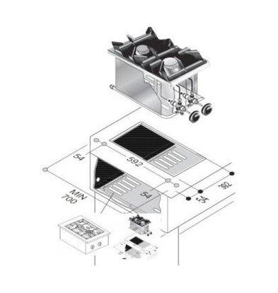 Combisteel Drop-In Gasherd   2 Brenner   7 kW   400x600x(h)270mm