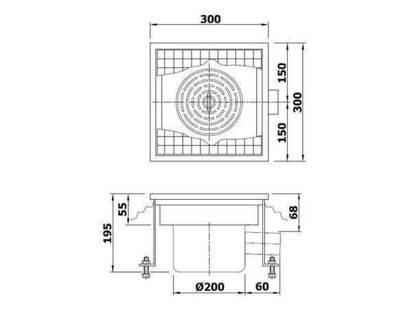 Combisteel Boden Abfluss Quadratisch | 300x300x(h)195mm