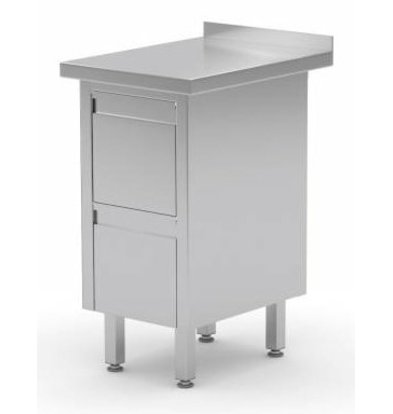 XXLselect Edelstahl Arbeitsschrank + 2 Schubladen + Aufkantung | 430x 600x(h)850/900 mm